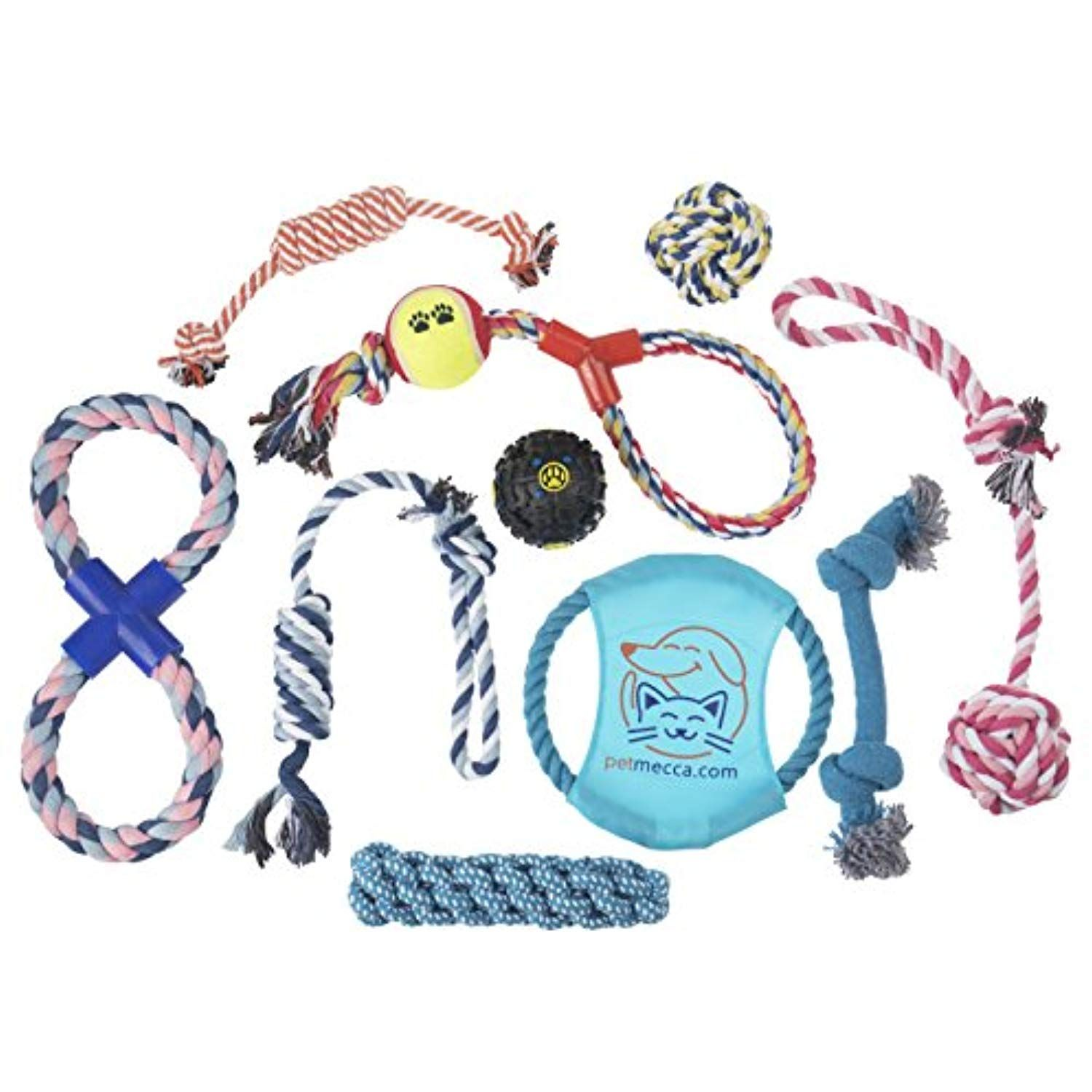 Dog Chew Toys For Small and Large Dogs Includes Tough