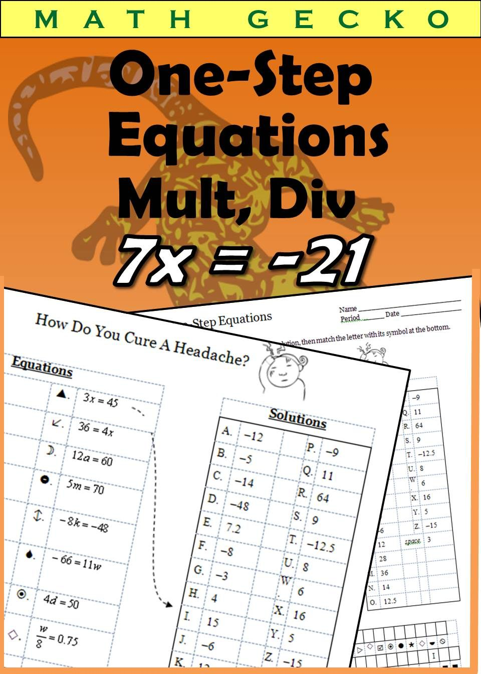 small resolution of Students solve one-step equations using multiplication and division to  solve a fun riddle. Equations use mos…   One step equations