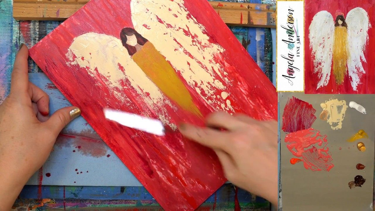 Abstract Angel Palette Knife Tutorial Live Acrylic Painting