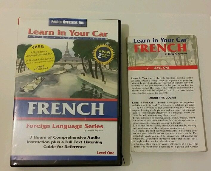 3 CDs with Listening Guide Learn In Your Car French Level One