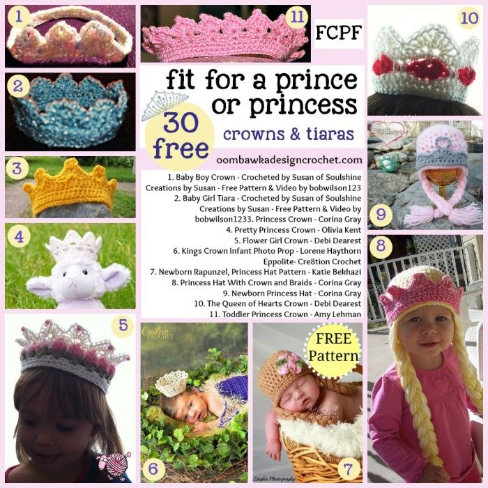 30 Free Patterns Fit for a Prince or Princess! | Pinterest | Gorros ...