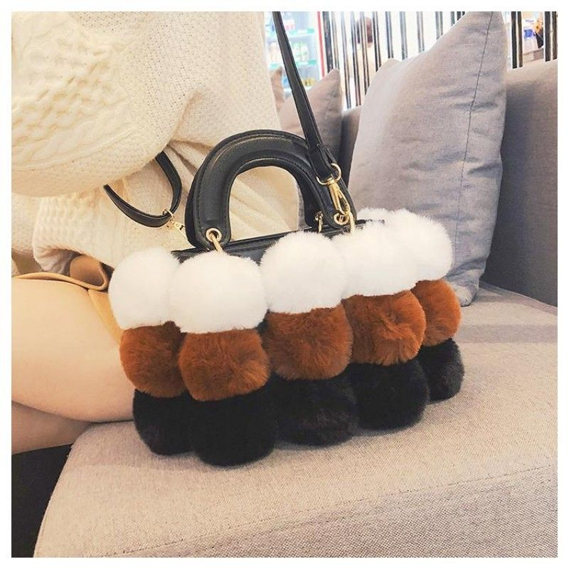 Brown and White Faux Fur Hand Purse Pompom Shoulder Handbags in 2018 ... c85b15c6d8