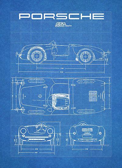 unframed PORSCHE 550 SPYDER POSTER VINTAGE GIFT DIAGRAM DRAWING 356 911