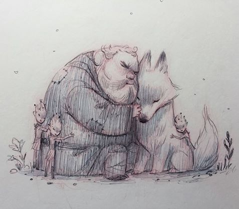 Heartwarming Drawing of Hodor, Summer and the Children of the Forest by Kei Acedera Like us on Facebook