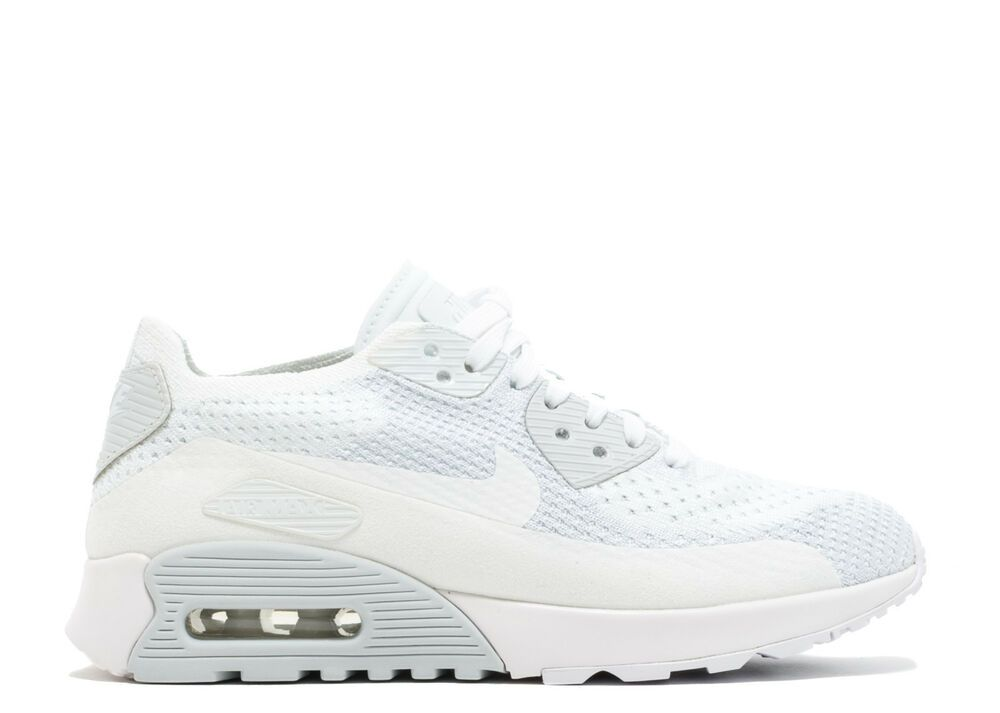 69f9b9cf5966 NIKE AIR MAX 90 ULTRA FLYKNIT  SZ 10.5  WOMEN 2.0 WHITE PURE PLATINUM 881109