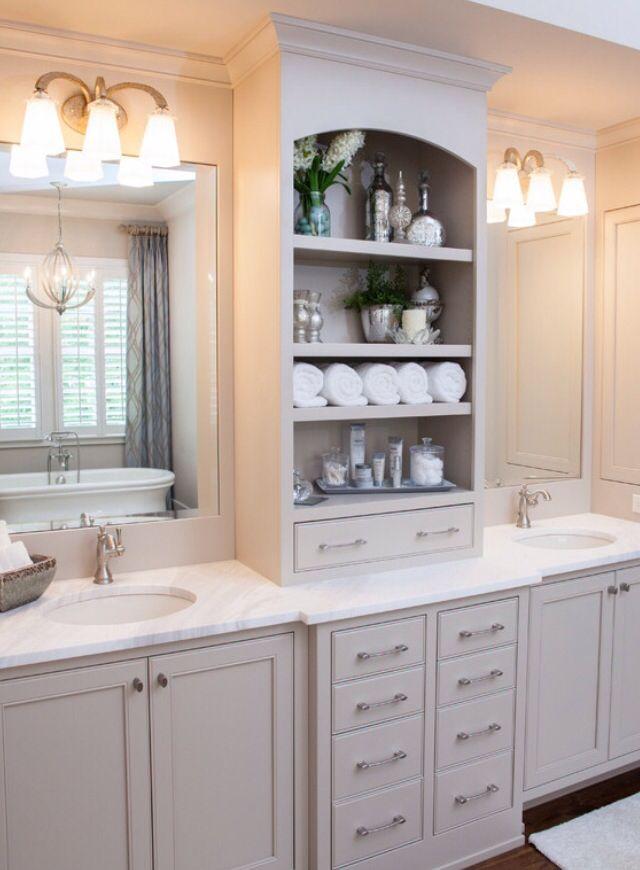 Storage Between Sinks Bathroom Vanity Designs Bathroom