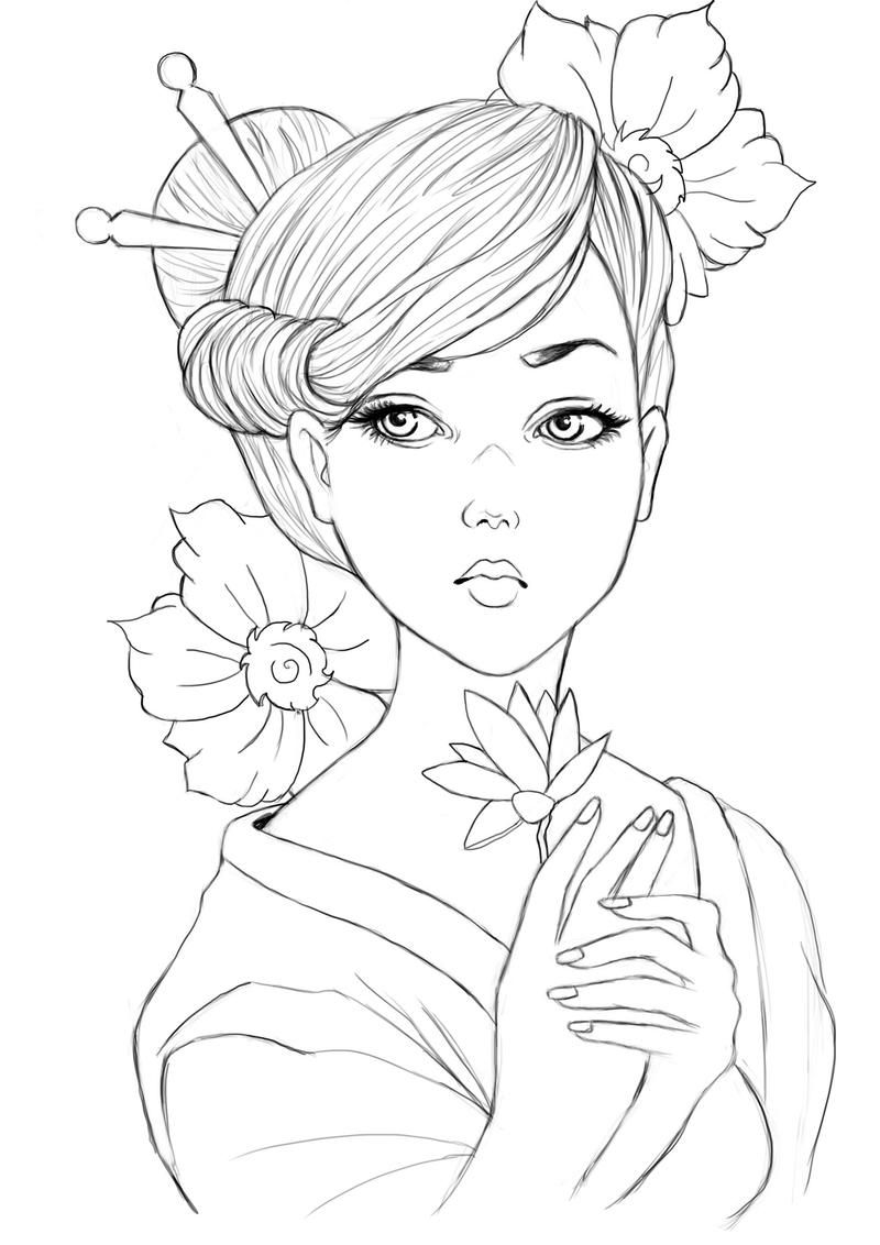 Geisha Lineart By Raffa3le On Deviantart People Coloring Pages Coloring Books Coloring Pages