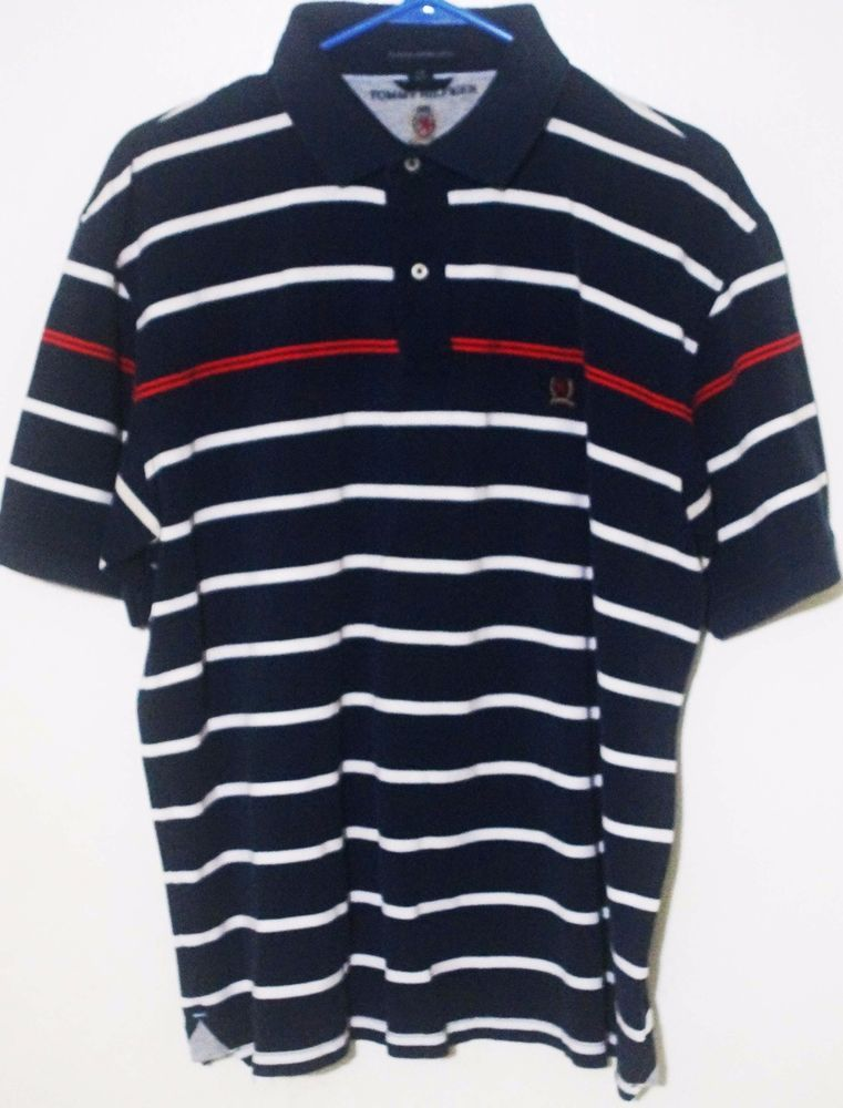 1a230fa0dd Mens Tommy Hilfiger Navy/White Red Stripe Classic Polo 100% Cotton Shirt  Size L #TommyHilfiger #PoloRugby