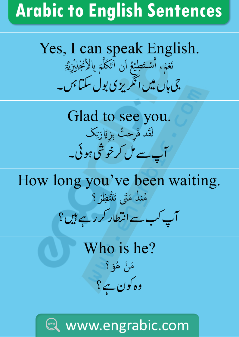 Spoken Arabic Sentences And Phrases With Meanings In Urdu And English English Phrases English Vocabulary Words Learn English Words