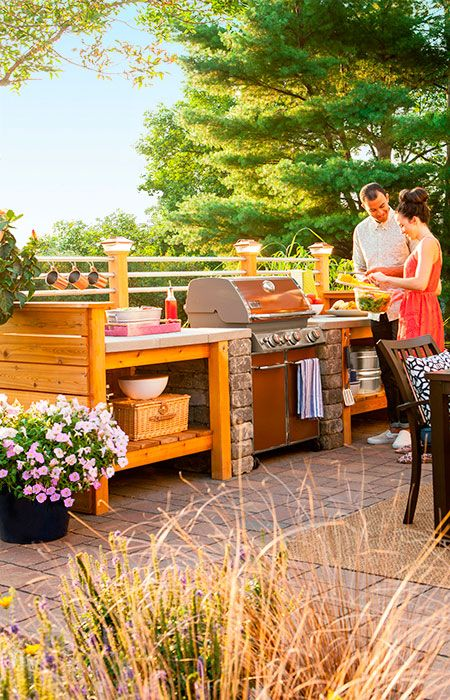 Surround a grill with plenty of attractive, weatherproof work ...