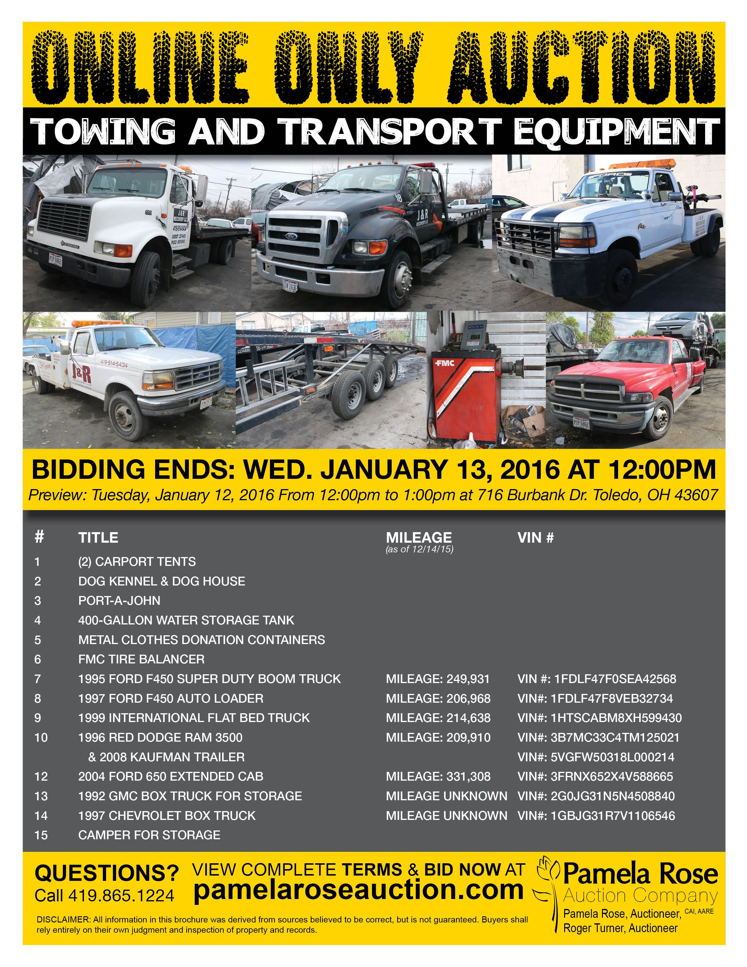 Online Only Auction Of Towing Transport Equipment Bidding Ends Wed Jan 13 At 12pm Preview Tues Jan 12 F Water Storage Tanks Carport Tent Water Storage