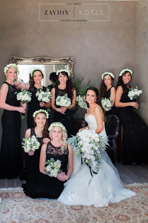 Black bridesmaids dresses elegant bridal bouquet white orchid black bridesmaids dresses elegant bridal bouquet white orchid bouquet soft green and white ombrellifo Image collections