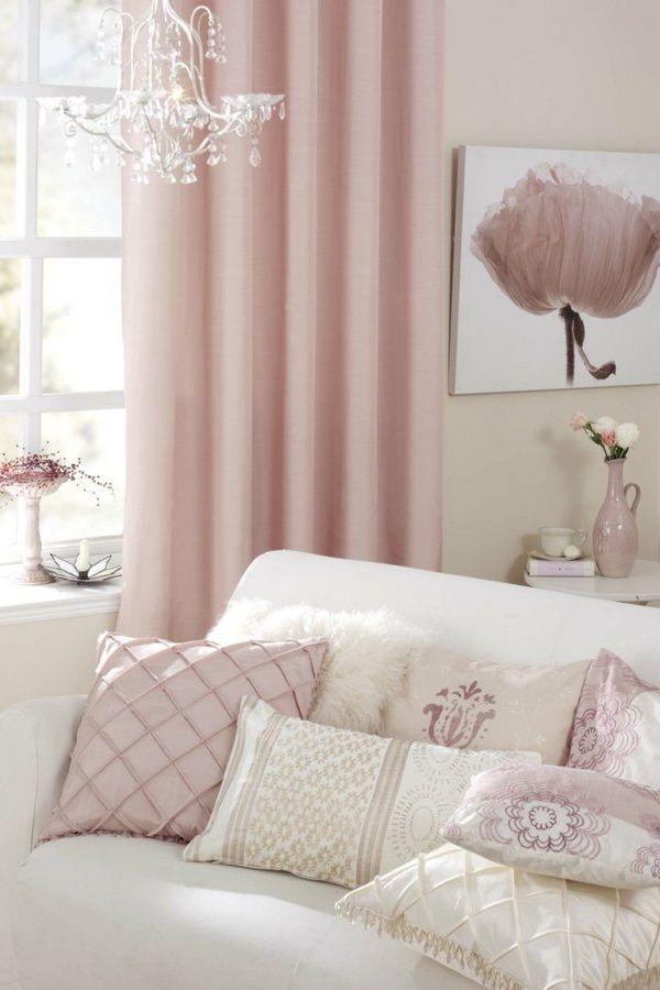 beaux rideaux pastel oreiller blanc rose idees deco interieur