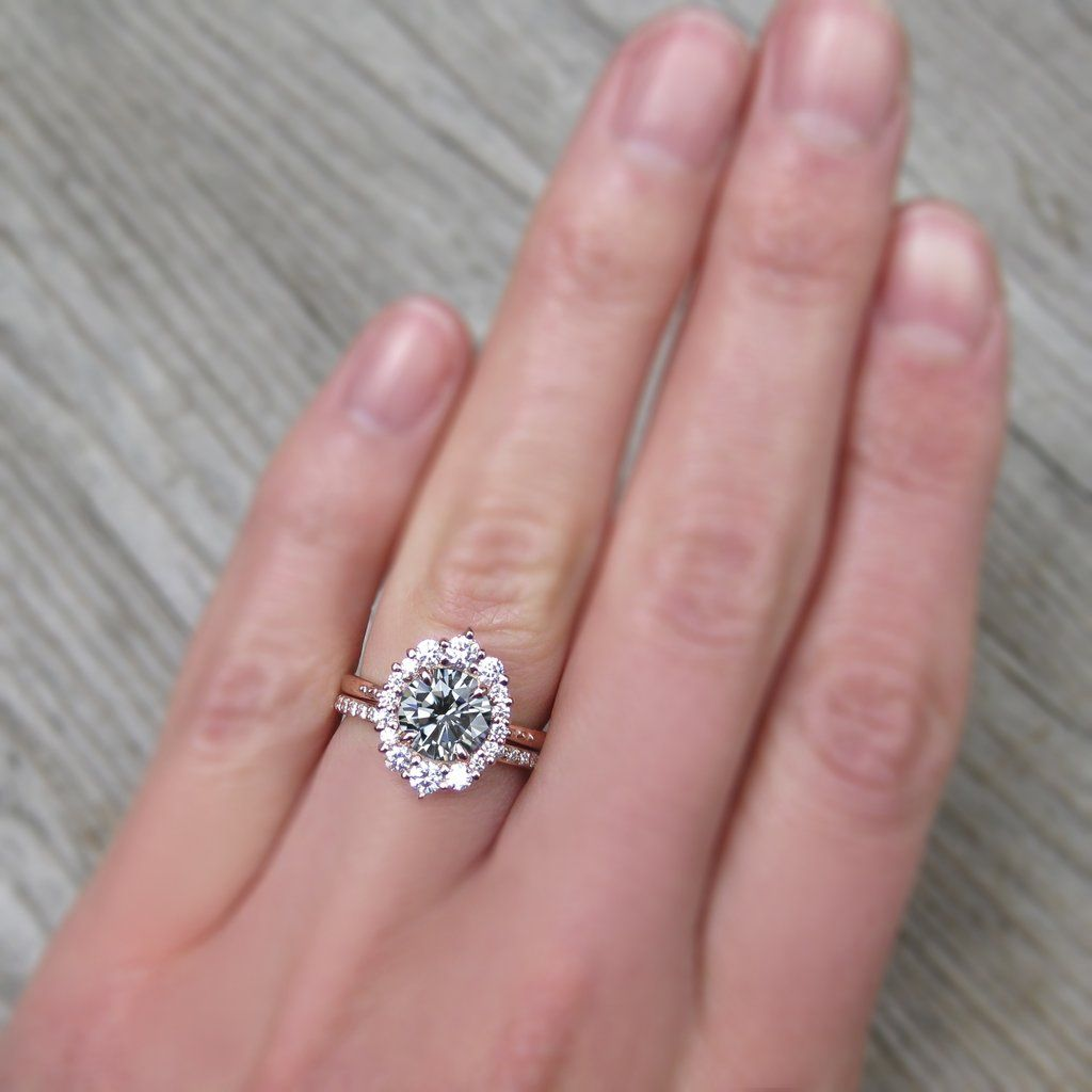 Grey Moissanite Engagement Ring with Diamond Halo | Kristin Coffin ...