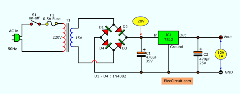 Simple Designing 12v 5a Linear Power Supply Eleccircuit Com In 2020 Power Supply Electrical Circuit Diagram Power Supply Circuit