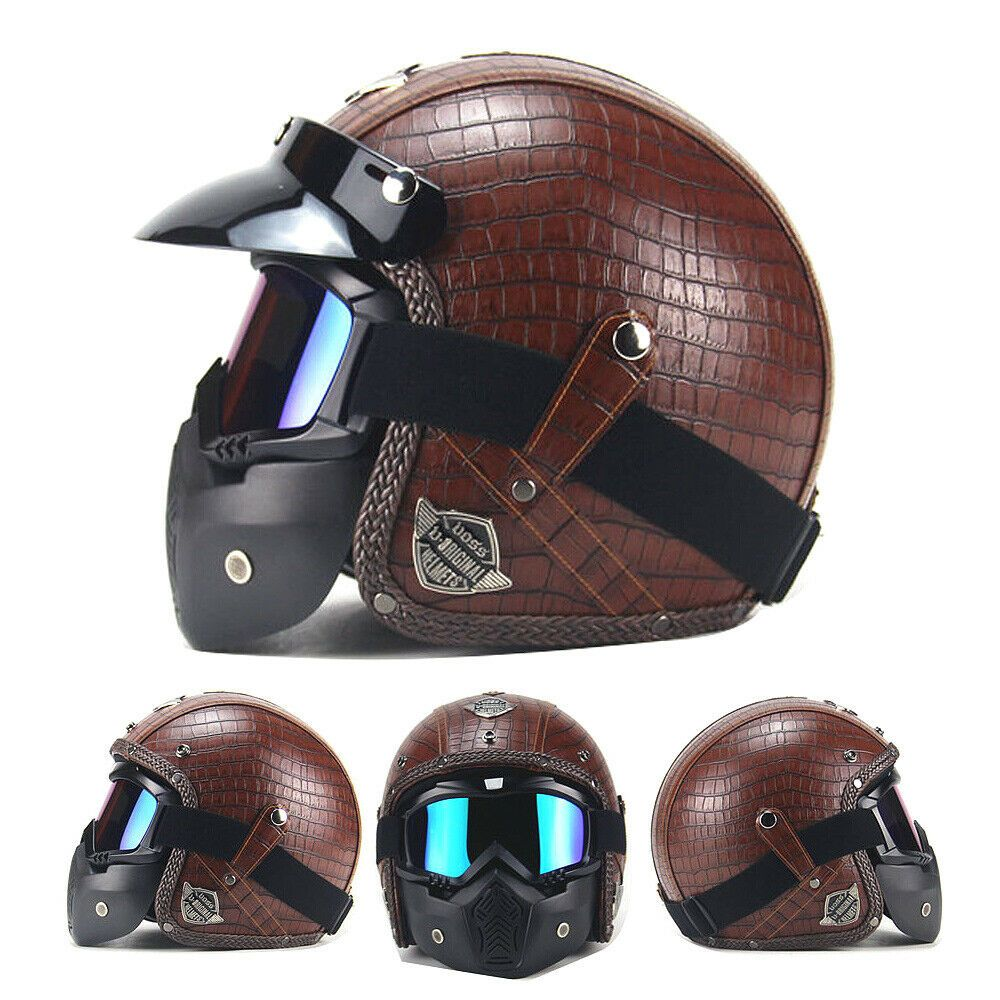Brown Motorcycle Helmets Open Chopper Bike Helmet Pu Leather Goggle Mask Review Motorcycle Helmets Vintage Leather Face Mask Bike Leathers