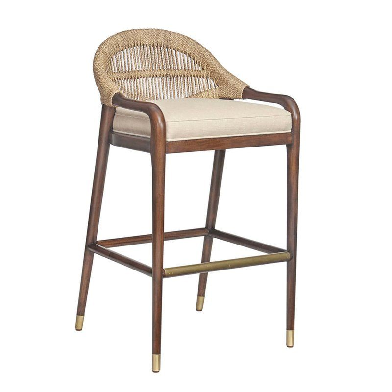 Chronograph Low Back Abaca Bar Stool Upholstered Bar Stools