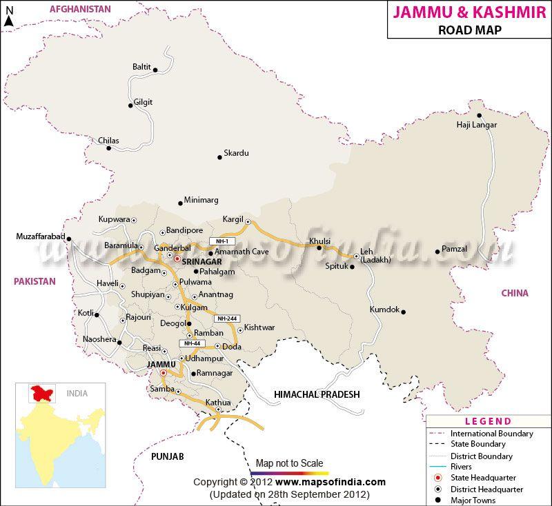 Jammu and Kashmir Road Network Map  travel  Pinterest  Buckets
