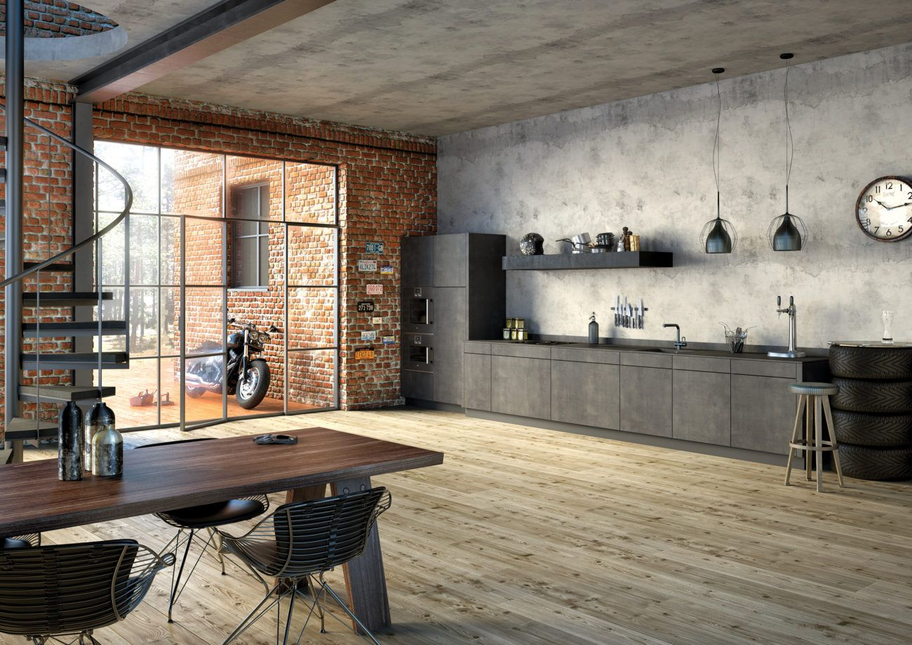 Loving this comfortable industrial but modern looking space  Haus