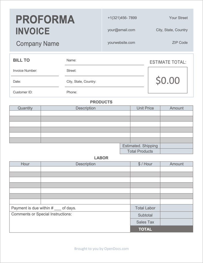 A proforma invoice template is a form used for gaining