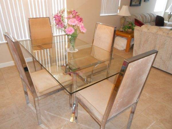 Milo Baughman Style dining room set; chairs & glass table- $280 (Miami - Kendall)