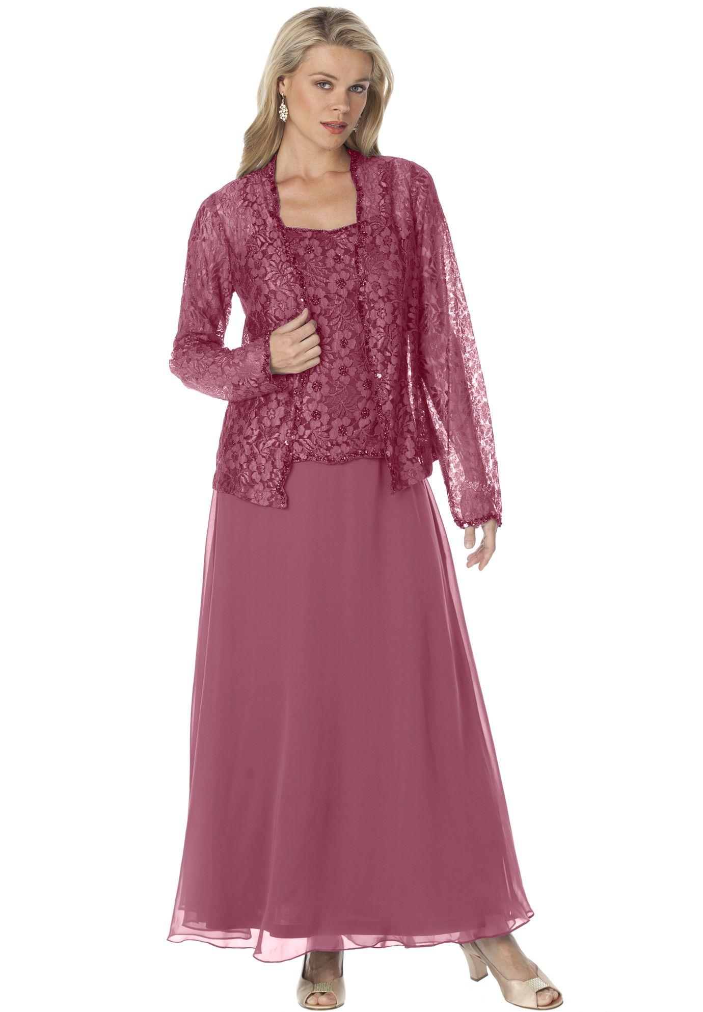 Plus Size Beaded Lace Jacket Dress | Beautiful Wedding by sandra ...