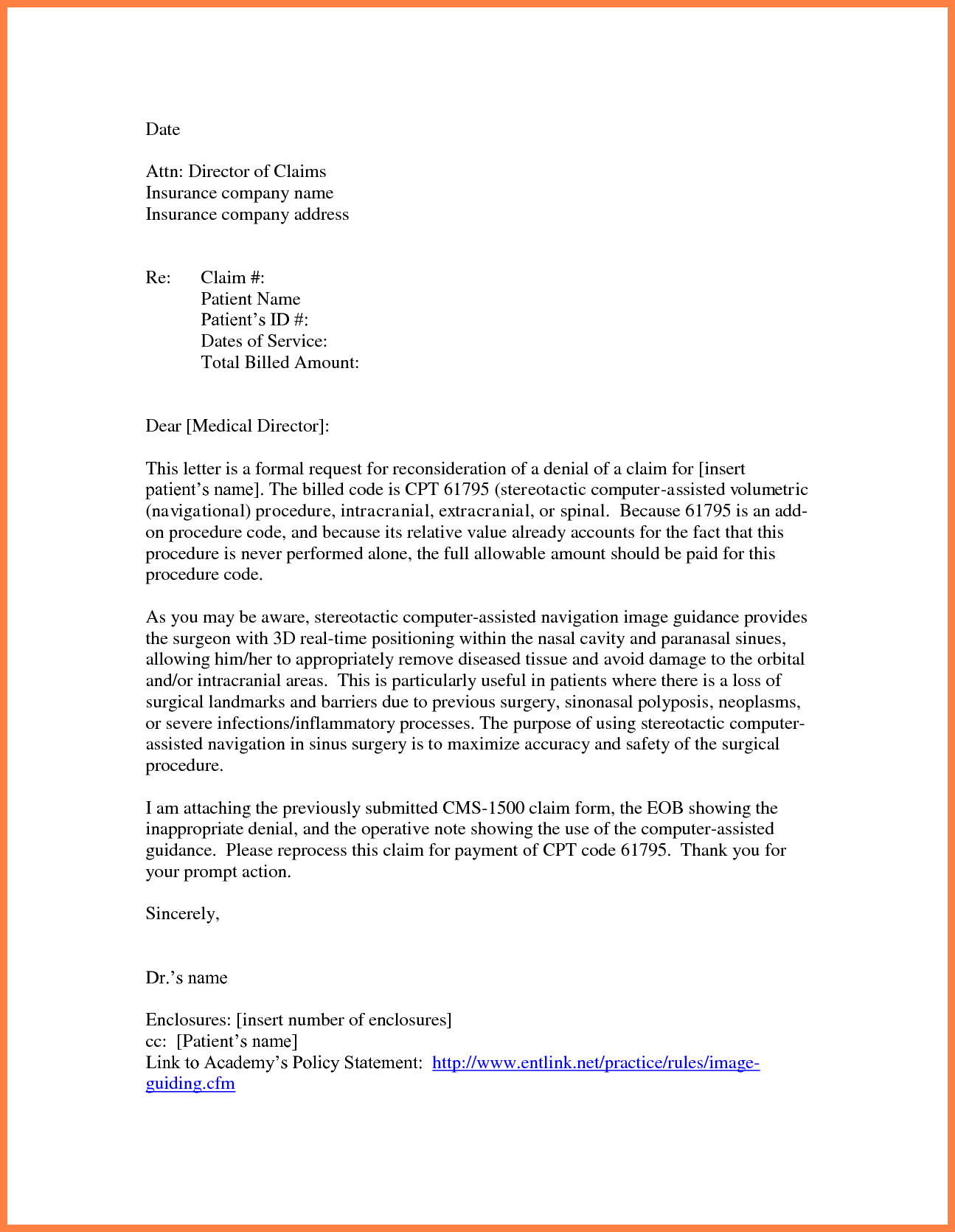 Appeal Letter Insurance Company Sample Template Health Medical In