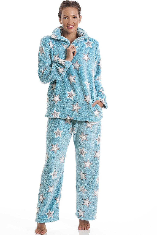 Aqua Blue Supersoft Fleece Star Print Pyjama Set