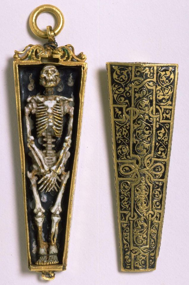 An English pendant, c.1540-50, in the form of a skeleton within a coffin, a symbol of death and a memento mori.
