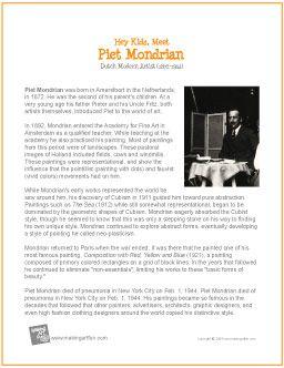 Piet Mondrian Printable Biography Mondrian Art Piet Mondrian Homeschool Art