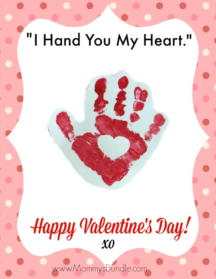 Handprint Valentine Printable I Hand You My Heart – Valentine Card Craft Ideas for Preschoolers