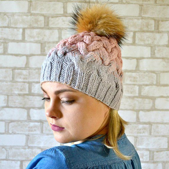 c4805380a6f Womens Cable knit hat with Fur pom pom Blush pink Gray hat Winter warm wool  accessories Choices your