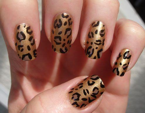 Today S Nail Polish Gold Leopard Print Manicure Manicure Gold Leopard Nails Nails