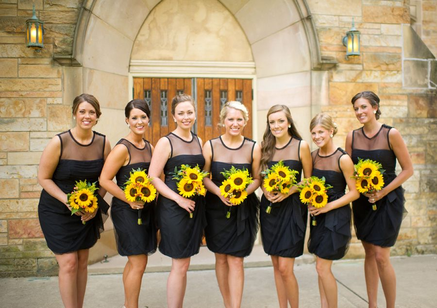 Sunflower Bouquets, Vera Wang Black Bridesmaids Dresses Stewart ...