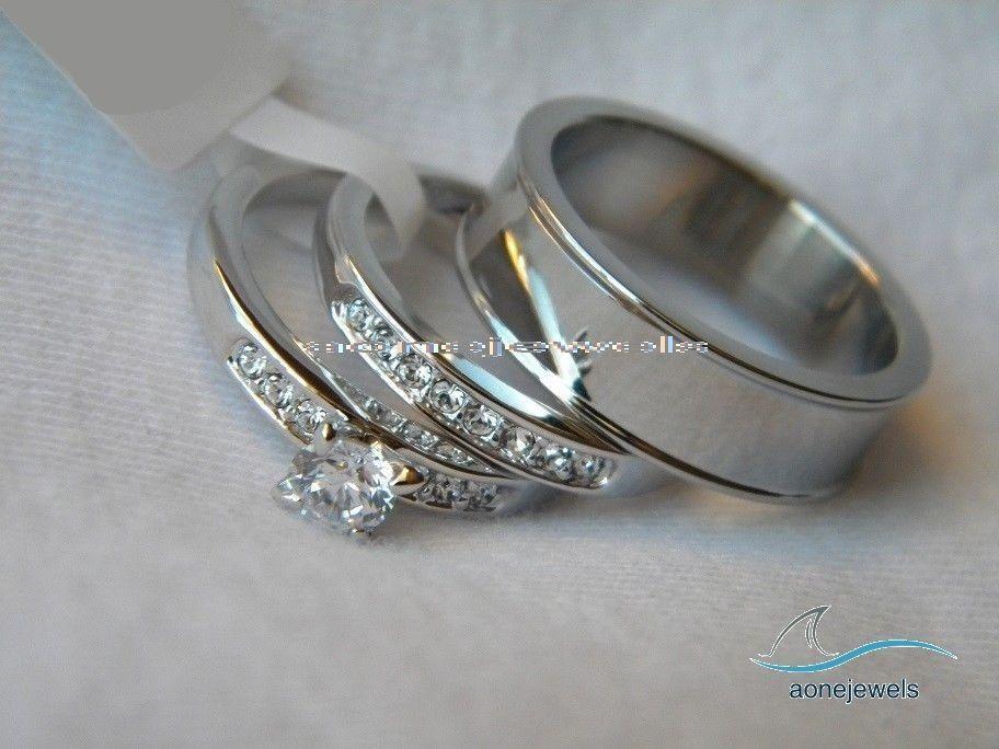 14k White Gold Over 1 75ct Round Diamond Trio Ring Set Engagement Wedding Aonejewels Wedding Ring Trio Sets Wedding Rings Sets Gold Couple Wedding Rings