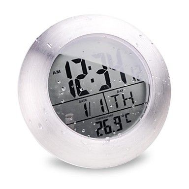 Atomic Digital Bathroom Clock With Waterproof Feature And Indoor Temperature