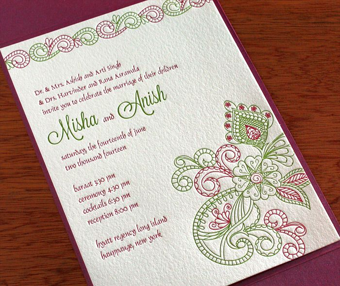 Top indian wedding invitation cards letterpresses for Wedding invitation boxes online india