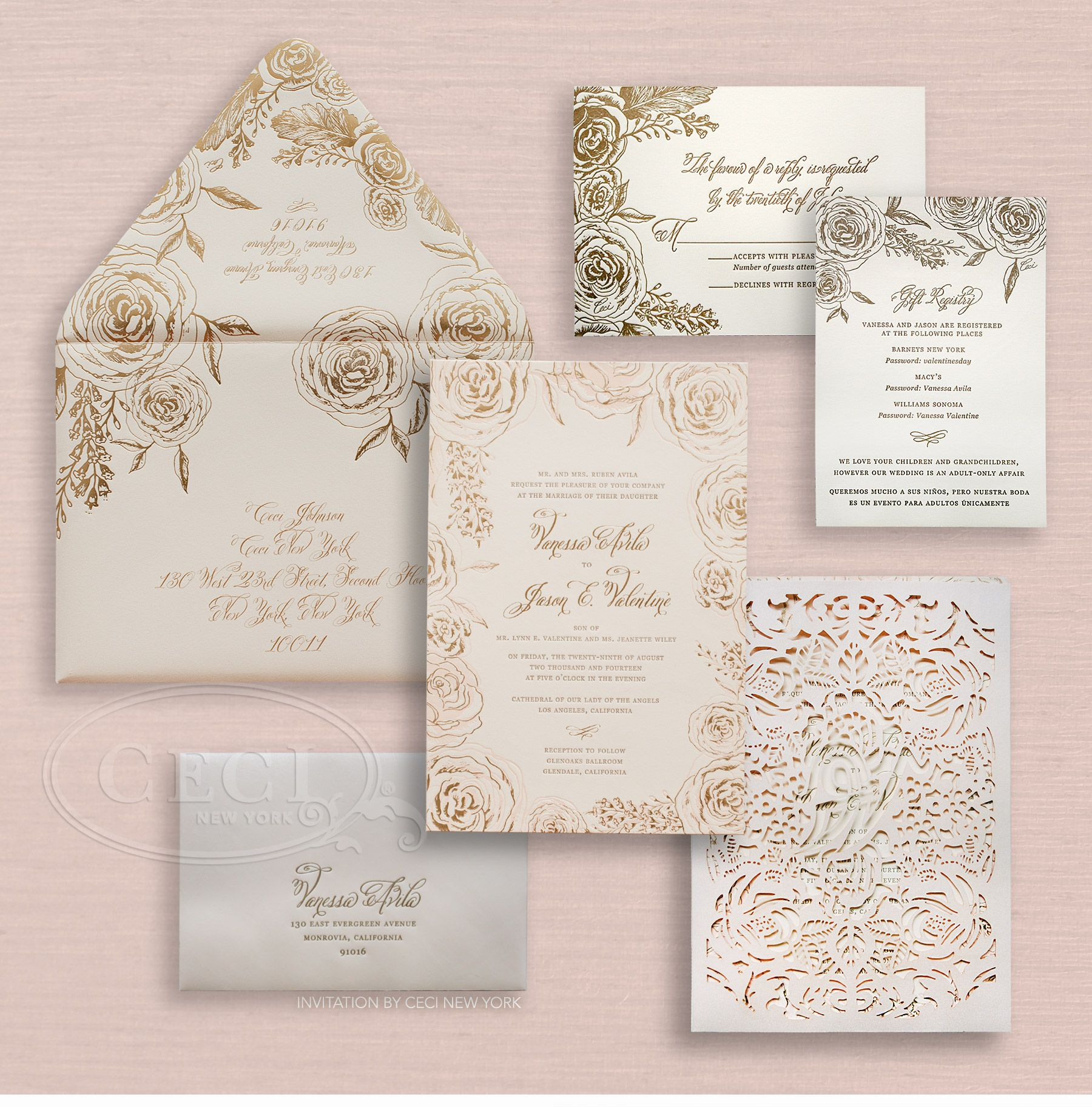 Luxury Wedding Invitations By Ceci New York: Foil-pressed Rose Print On Outer Envelope [Luxury Wedding