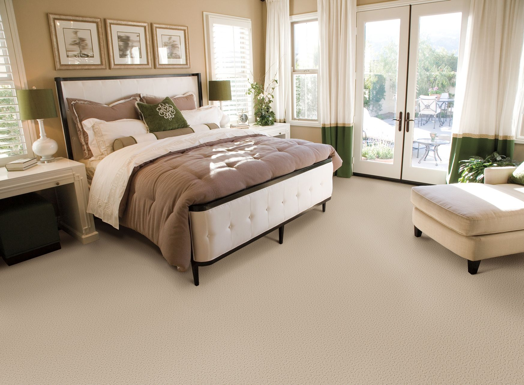 A Neutral Palette With Green Accents Make This Bedroom