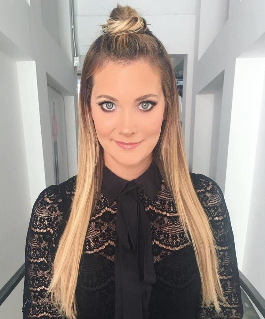 20 Ideas How To Spice Up Your Half Bun Straight Hairstyles Half Bun Hairstyles Balayage Straight Hair