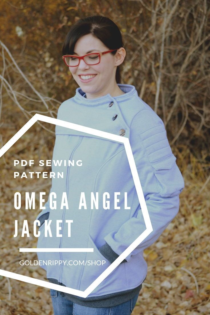 Here's the Omega Angel pdf sewing pattern. It's a warm knit jacket with princess seams and generous front pockets. No need for a scarf, this jacket will keep you nice and cozy with the bolero. It looks difficult, but the instructions make it an easy sew. #omegaangel #sewingpattern#pdf #pattern #womens #jacket #sewing #garrus #easy