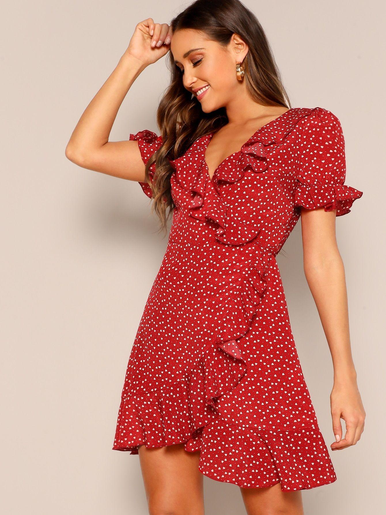 heart print ruffle wrap dress printheartruffle (с