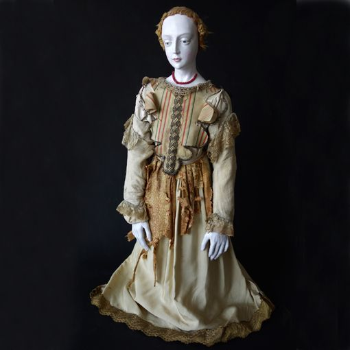 """Large French Polychrome Santo with Original Costume, Late 18th/early 19th century, Polychrome wood, silk, linen, 37 ½"""" high   Lawton Mull"""