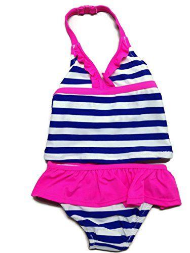 59e4f124fdd9b OshKosh Little Girls' Cobalt Blue Stripe Pink Ruffle Tankini - Toddlers