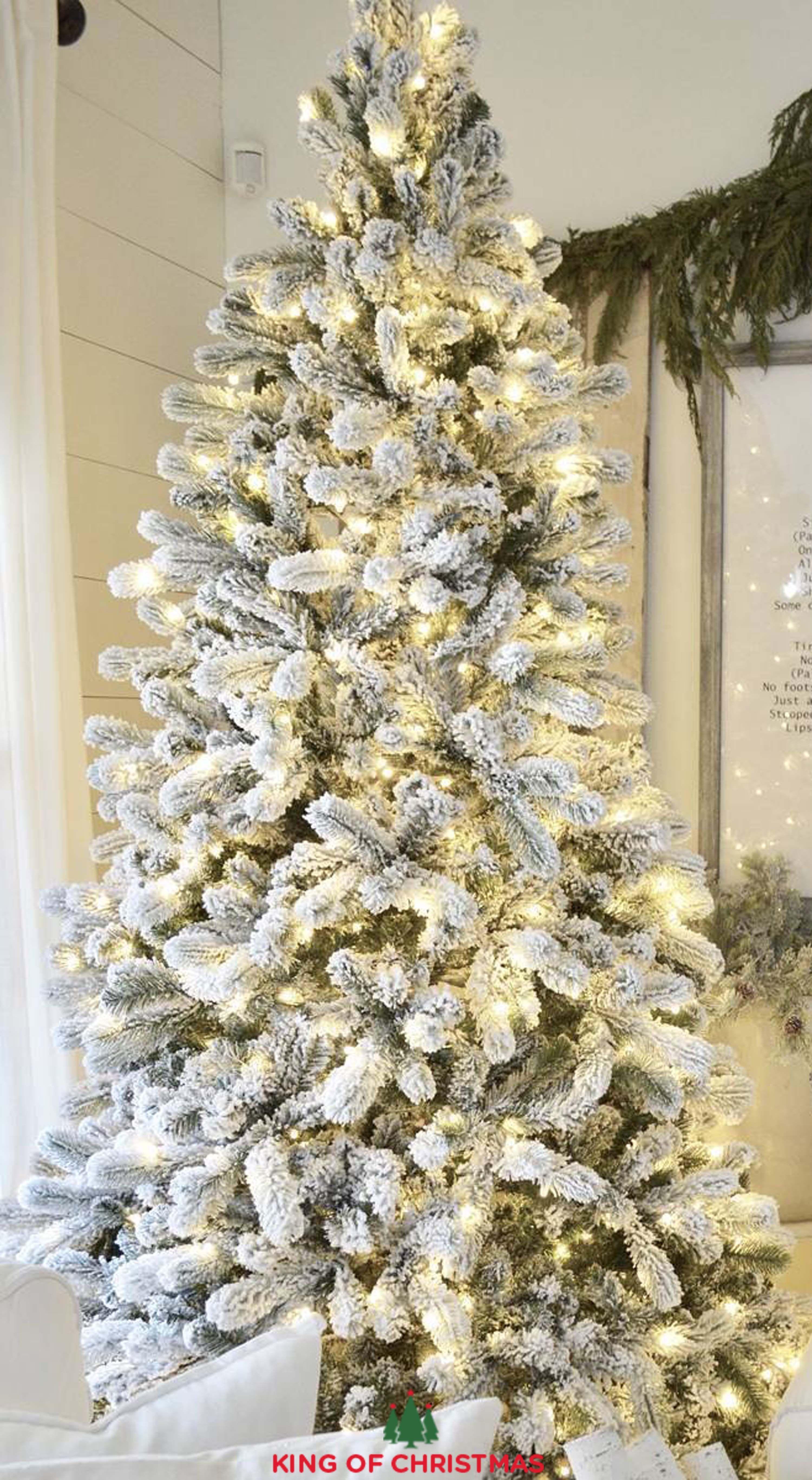 Slim Flocked Christmas Tree With Lights.Yorkshire Slim Christmas Tree King Of Christmas Flock