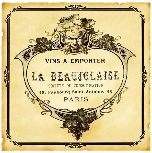 free printable paris wine labels | Vintage Wine Labels | Beaujolaise ...