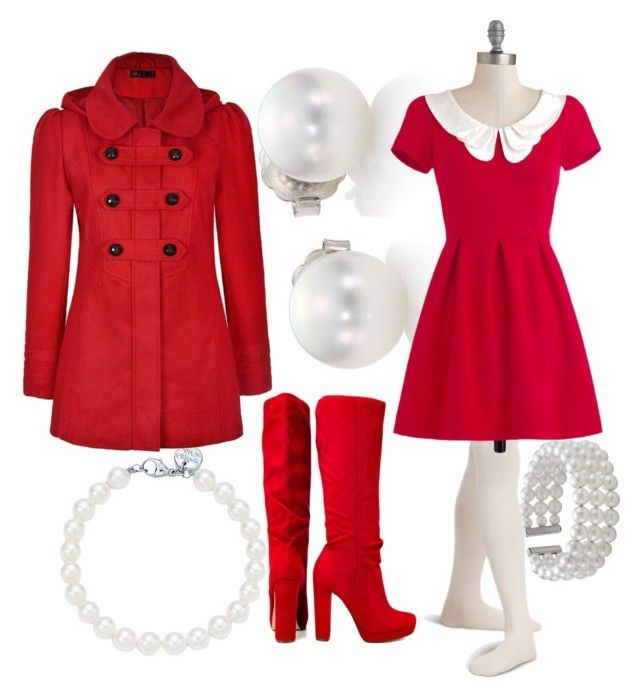 """""""Little RED riding hood"""" by elli-jane-xox ❤ liked on Polyvore featuring Mikimoto, Tiffany & Co., Ally Fashion, Michael Antonio and John Lewis"""
