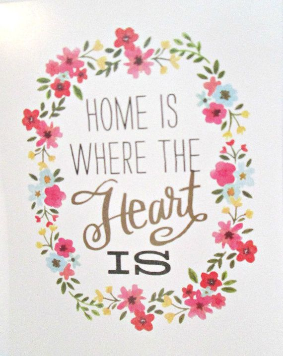 Art Print Quote Art Print Home Is Where The Heart Is Quote Art Print
