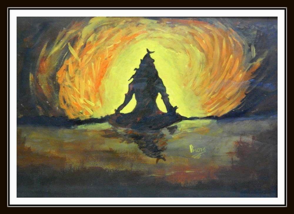 Meditating Lord Shiva - X (Border Paresh More,Lord Shiva,shiva,paintings of lord shiva, Buy Online painting in india