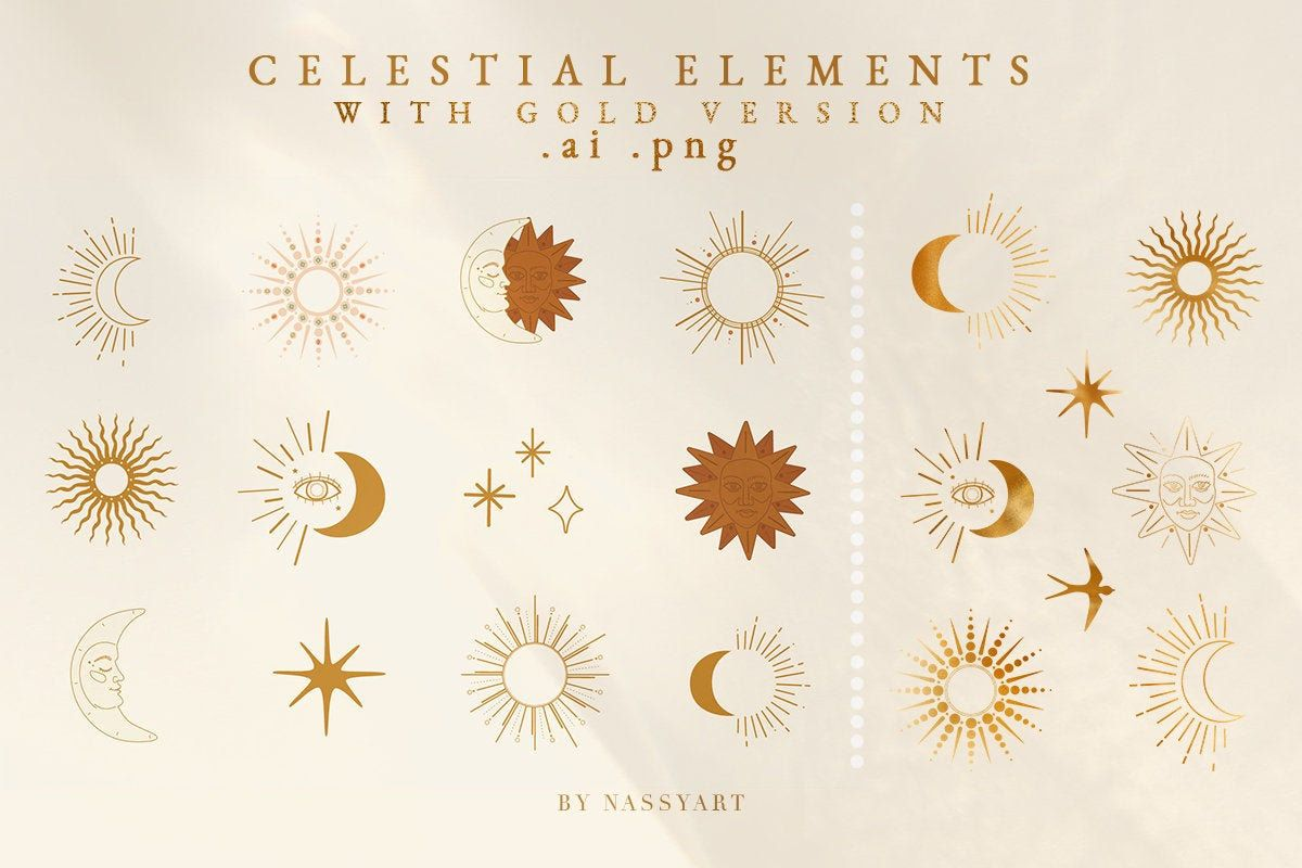 Moon Sun Stars Icon Celestial Clipart Decor Elements With Gold Etsy In 2020 Fall Graphic Celestial Art Graphic